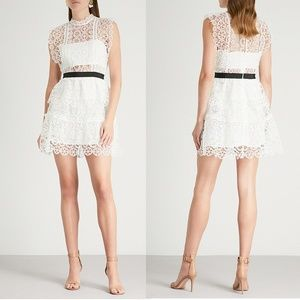 NWT Self Portrait Circle White Lace Tiered Dress